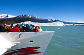 People taking pictures of the glaciers at Lago Argentino, Los Glaciares National Park, near El Calafate, Patagonia, Argentina