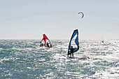 Sail boarders and kite boarder near Tarifa, Andalusia, Spain, Europe
