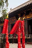 Candles at The Giant Wild Goose Pagoda Da Yanta near Xi'an, Shaanxi Province, People's Republic of China