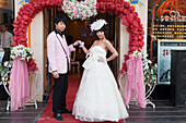 Chinese bridal couple in Xining, Qinghai Province, People's Republic of China