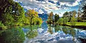 Loisach at lake Kochelsee, the Heimgarten in the background, Upper Bavaria, Germany, Europe
