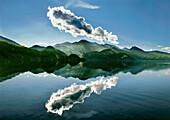 Cloud above lake Kochelsee, Upper Bavaria, Germany, Europe