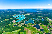 Aerial view of lakes Osterseen, Seeshaupt, Lake Starnberger See, Upper Bavaria, Germany, Europe