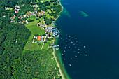 Aerial view of Possenhofen Castle, Possenhofen, Lake Starnberger See, Upper Bavaria, Germany, Europe