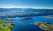 Aerial view of lake Staffelsee and Wetterstein mountains, Upper Bavaria, Germany, Europe