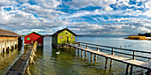 Boathouses and jetties at lake Ammersee, Schondorf, Upper Bavaria, Germany, Europe