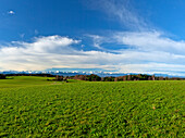 View from Degerndorf at Fuenfseenland onto the alps, the Karwendel, Wetterstein mountains and Allgaeuer mountains, Upper Bavaria, Germany, Europe