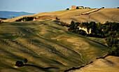 Idyllic hilly landscape. Crete, Tuscany, Italy, Europe