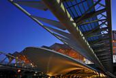 View of Lisbon Orient Station in the evening, Santiago Calatrava, Lisbon, Portugal, Europe