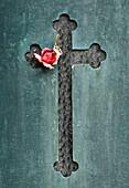 Detail of a tombstone at the cemetery Cemiterio dos Prazeres, Lisbon, Portugal, Europe
