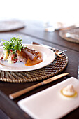 Roast duck with rocket, lunch at the shared restaurant tent, Wilson island Resort, Wilson Island, part of the Capricornia Cays National Park, Great Barrier Reef Marine Park, UNESCO World Heritage Site, Queensland, Australia