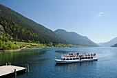 Excursion boat landing at stage, lake Weissensee, Carinthia, Austria, Europe