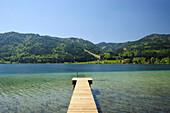 Wooden landing stage leading into lake Weissensee, Carinthia, Austria, Europe