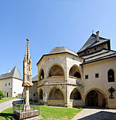 Gothic shrine and two storeyed arcaded gallery at ossuary at church Maria Saal, Maria Saal, Carinthia, Austria, Europe