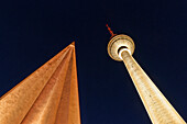 Low angle view of the Television Tower, Alexander Square, Mitte, Berlin, Germany, Europe