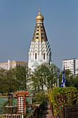 Kirchturm der russischen Gedächtniskirche, Leipzig, Sachsen, Deutschland, Europa