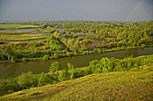 View at landscape with ponds and marsh and the Canal de la Somme from Belvédère de Frise, Dept. Somme, Picardie, France, Europe