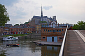 View over Port d'Amont with Pénichette, and old city and Notre-Dame cathedral and boathouse of Amiens rowing-club, Amiens, Dept. Somme, Picardie, France, Europe