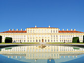 Castle Schloss Schleissheim reflecting in water basin, Neues Schloss, Schleissheim, Munich, Upper Bavaria, Bavaria, Germany, Europe