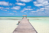 Pier over crystal water in the lagoon, Cayo Guillermo (Jardines del Rey), Ciego de Avila, Cuba