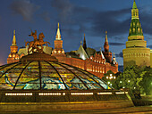 stained glass dome above Ochodny rjad, shopping mall - behind tower of the Kremlin wall (right) and the Historic Museum