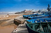 Morocco Essaouira Medina and fishing boats near Bab Laachour