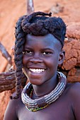 Himba girl with the typical necklace, Kaokoland, Namibia