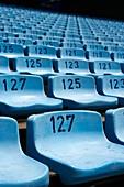 rows of empty blue plastic seats in Alberto J Armando la bombonera stadium home to atletico boca juniors football club la boca capital federal buenos aires republic of argentina south america