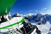 Adventure, Aerial, Aeroplane, Air, Aircraft, Airplane, Alaska range, American, Bush pilot, Bush plane, Bushplane, Clear, Cold, Denali, Exploration, Fish eye, Float, Floatplane, Floats, Flying, Glacier, Ice, In air, Journey, Kinley, Landscape, Large angle,