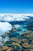 Above, Aerial, Aragon, Atmosphere, Atmospheric, Cloud, Clouds, Cloudscape, Colored, Countryside, Cumulus, Farming, Fields, Idyllic, Lake, Land, Landscape, Over, Overview, Picturesque, Scenic, Skyline, Spain, Summer, Vertical, Water, Weather, White, Yesa,