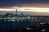 Architecture, Auckland, Building, Buildings, Capital, City, Cityscape, Cloudy, Dusk, Elevated view, Evening, Harbor, High angle, Landmark, Landscape, Light, Lights, New zealand, Night, North island, Northland, Overview, Reflection, Reflective, Sky, Skylin