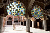 Africa, African, Architecture, Believer, Building, Column, Courtyard, Djourbel, Great, Holy, Inside, Islam, Islamic, Landmark, Man, Mosque, Muslem, Muslim, People, Rear view, Religion, Religious, Sacred, Senegal, Stained glass windows, Structure, Touba, W