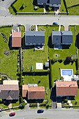 Aerial view of a modern, recent and new housing estate in a french village Lorraine, France