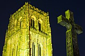 England, County Durham, Durham City A war memorial in the shape of the Cross of St Cuthbert, next to Durham Cathedral