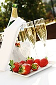 Champagne and Strawberries on a summer, s evening