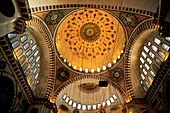 Turkey istanbul decorated dome and windows inside suleiman the magnificent mosque