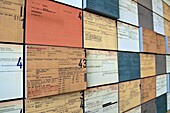 Wall with index cards of former SS members in theTopography of Terror, exhibition on the grounds of the former SS headquarters, Berlin, Germany