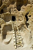 Main Loop trail showing the archeology features along Frijoles Canyon at Bandelier National Monument in New Mexico