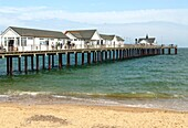 View over the Pier of Southwold, a town on the North Sea coast, in the Waveney district of Suffolk, East Anglia, England It is located at the mouth of the River Blyth within the Suffolk Coast and Heaths Area of Outstanding Natural Beauty  Blick auf die