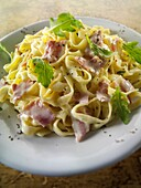Carbonara, cooked, food, fresh, healthy, Italian, noodle, nourishment, nutrition, pasta, Sauce, tagliatelle, tagliatelli, tradition, traditional, vertical, YL2-1202602, AGEFOTOSTOCK