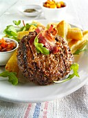 Char grilled beef burger with chunky chips and salad