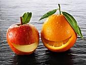 anti-oxidant, apple, citrus, eatable, eating, edible, food, fresh, fruit, happy, healthiness, healthy, High fibre, horizontal, low-calorie, natural, orange, produce, smile, vitamin, Vitamin C, wellness, wholefood, YL2-1202897, AGEFOTOSTOCK