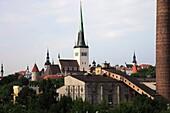 Estonia, Tallinn, St Olav's Church, skyline, general view