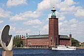 Sweden, Stockholm, City Hall, Stadshuset, sightseeing boat