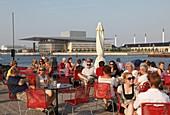 Denmark, Copenhagen, Opera House, outdoor cafe, people
