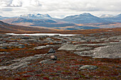Rocky landscape north of the arctic circle, Saltdal, Junkerdalen national park, trekking tour in Autumn, Fjell, Lonsdal, close to Mo i Rana, Nordland, Norway, Scandinavia, Europe
