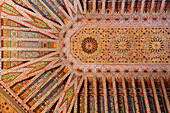 Detail of a Decorated Ceiling, the Bahia Palace (Palace of the Beautiful Woman) Built For the Grand Vizier Ahmed Ben Moussa in the 19Th Century, Marrakech, Morocco