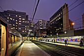 Tgv High-Speed Train at the Platform at Nightfall, Montparnasse Train Station, 15Th Arrondissement, Paris (75), France