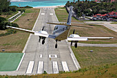 Airplane Landing at Gustave Iii Airport, Saint Barthelemy, French Lesser Antilles, Caribbean
