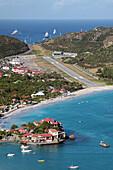 View of the Col De La Tourmente, Gustave Iii Airport, Saint Jean Beach and the Luxury Hotel Eden Rock, Relais Et Chateaux, Saint Barthelemy, French Lesser Antilles, Caribbean